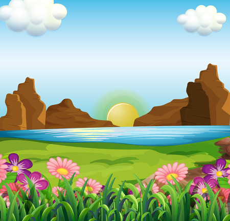 surrounding: Illustration of a view of the river and the beautiful flowers