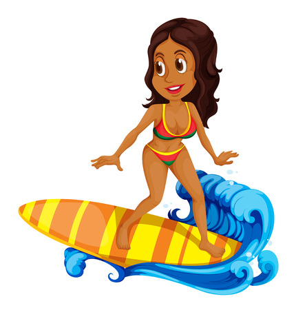 Illustration of a tan girl surfing on a white background Illustration