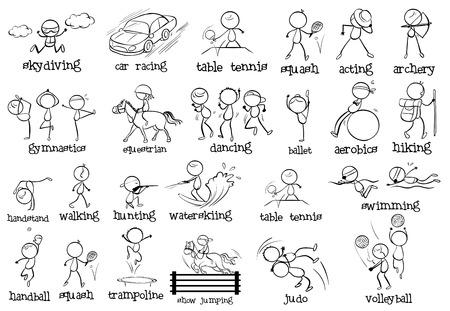 buiten sporten: Illustratie van de verschillende indoor en outdoor sporten op een witte achtergrond