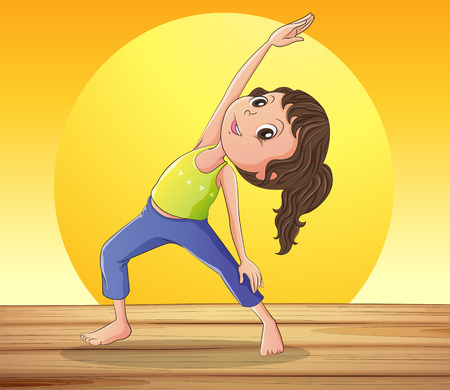 Illustration of a smiling girl doing yoga Stock Vector - 27909111