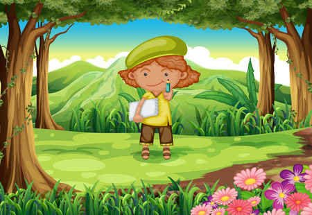 Illustration of a pupil in the middle of the forest