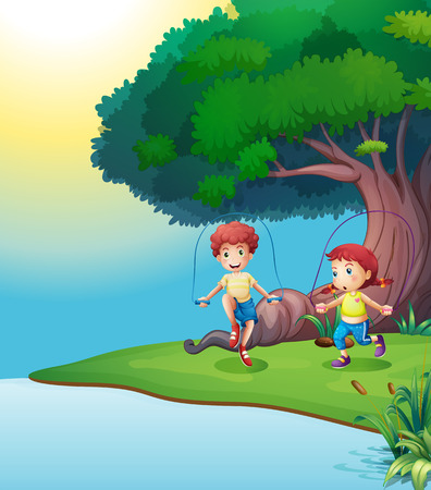 jungle jumping: Illustration of a boy and a girl playing near the giant tree