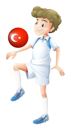 Illustration of a football player using the ball with the flag of Turkey on a white background Vector