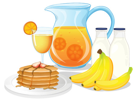 Illustration of the healthy drinks and foods on a white background Vector