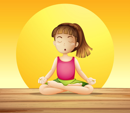 Illustration of a young lady doing yoga Vector
