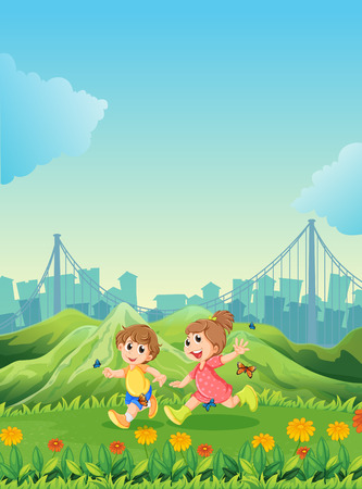 child running: Illustration of the two adorable kids playing with the butterflies Illustration