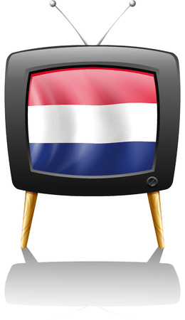 Illustration of a television with the flag of the Netherlands on a white background Vector