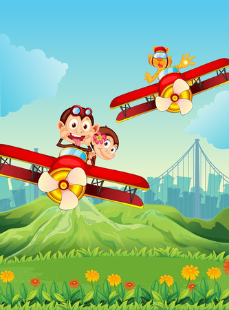 flying monkey: Illustration of the planes with playful animals