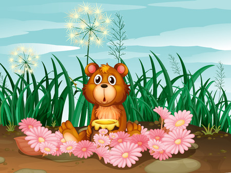 Illustration of a cute bear with pink flowers Vector