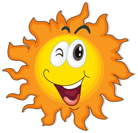 Illustration of a happy sun on a white background