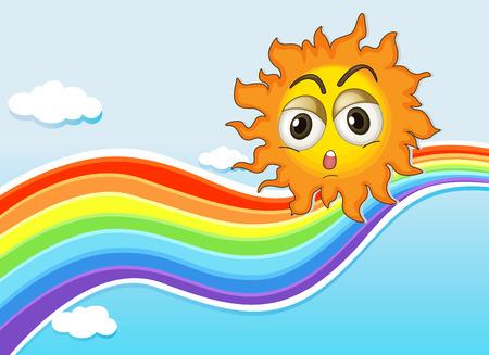 Illustration of a sky with a sun and a rainbow