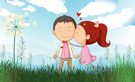 Illustration of a couple at the field Vector