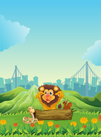 cartoon mountain: Illustration of a snake, a lion and a beaver