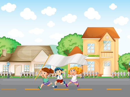 Illustration of the kids outside the big houses with an empty banner Vector