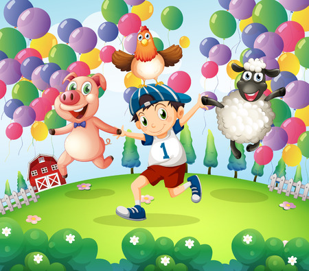 balloon animals: Illustration of a boy and his animals at the farm with floating balloons Illustration