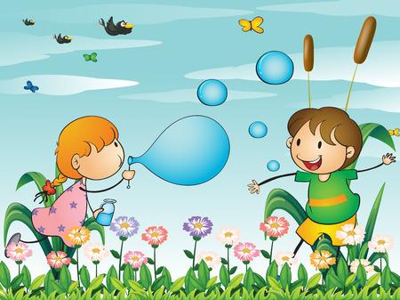 playmates: Ilustración de los niños en el jardín jugando con el soplado de burbujas Vectores