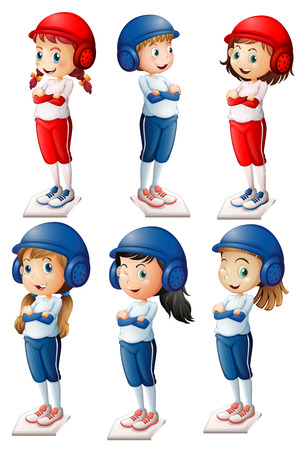 Illustration of the six baseball players on a white background Vector