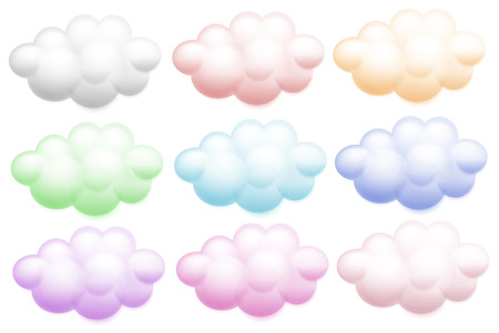 on cloud nine: Illustration of the colourful clouds on a white background