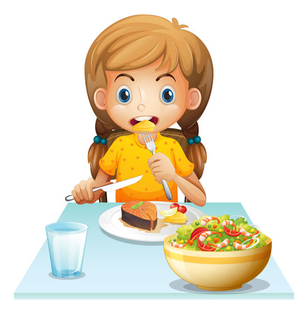 Illustration of a young girl eating on a white background