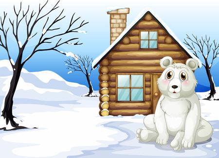 northpole: Illustratie van een ijsbeer buiten het houten huis