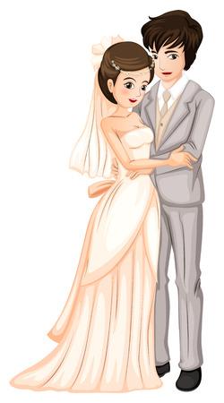 Illustratie van een pas getrouwd paar op een witte achtergrond