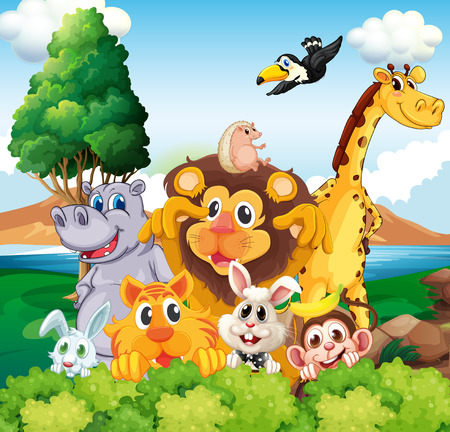 ocean cartoon: Illustration of a group of animals near the river