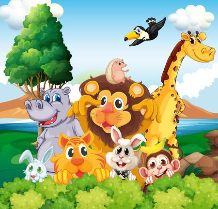 tigre caricatura: Ilustración de un grupo de animales cerca del río Vectores