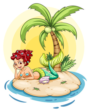 Illustration of a smiling mermaid in an island on a white background Vector