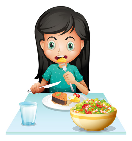 dinner food: Ilustraci�n de una ni�a comiendo su almuerzo en un fondo blanco