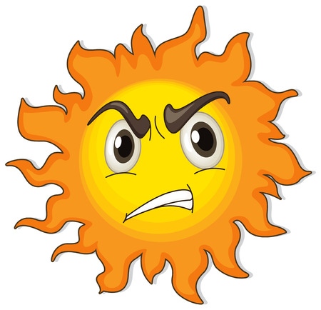 angry sky: Illustration of a sun on a white background Illustration