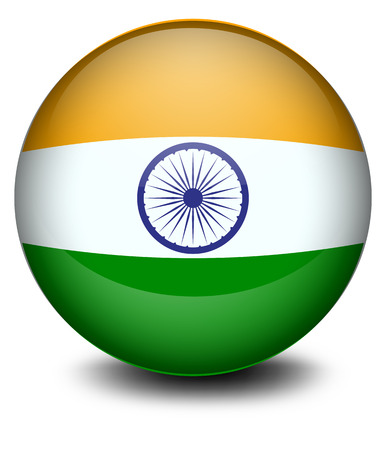 sports flag: Illustration of a soccer ball with the Indian flag on a white background