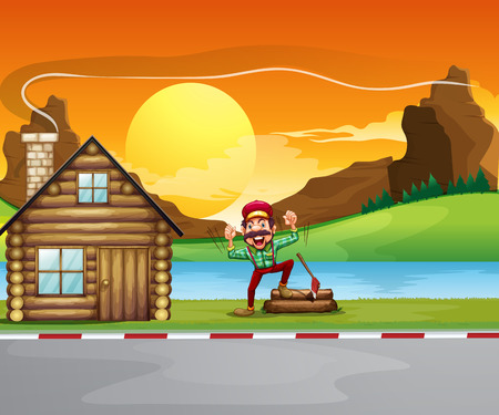 Illustration of a woodman beside the wooden house Vector