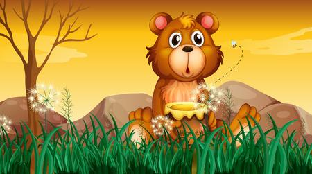 Illustration of a cute bear holding a pot of honey Vector