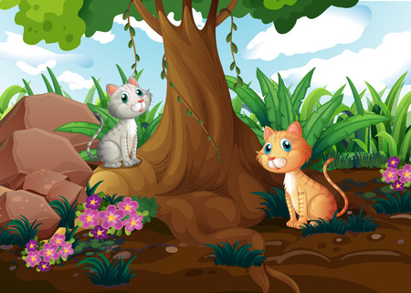 Illustration of the cats under the tree Vector