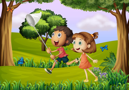 Illustration of the two kids playing at the forest with a net Vector