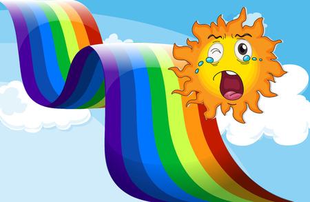 Illustration of a crying sun near the rainbow