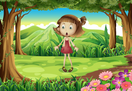 Illustration of a shocked young girl in the middle of the forest Vector