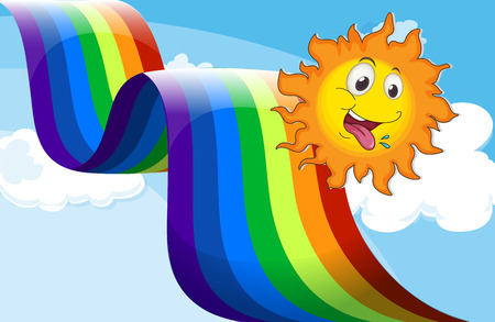 Illustration of a rainbow beside the happy sun Vector