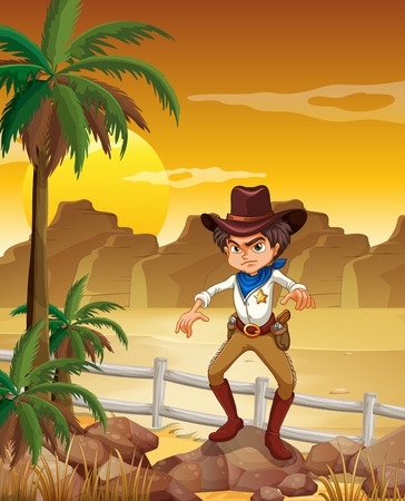 Illustration of an angry cowboy at the desert Vector
