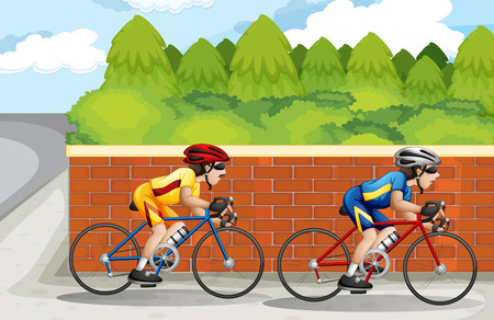 Illustration of the two men biking Vector