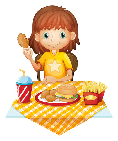 Illustration of a young girl eating at the fastfood restaurant on a white background Vector