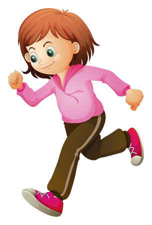 hurrying: Illustration of a young child jogging on a white background Illustration