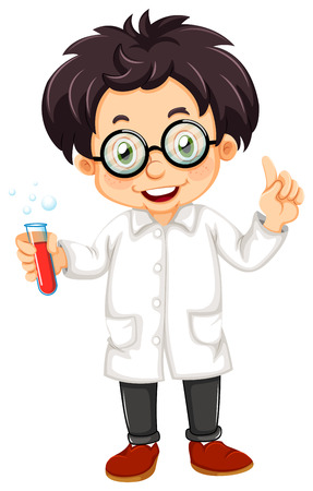 Illustration of a scientist on a white background Vector