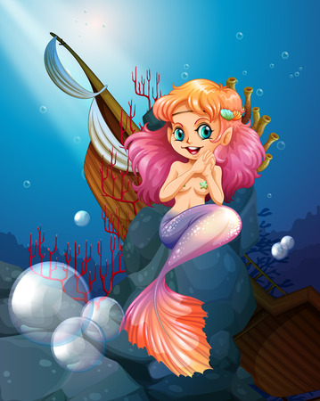 wrecked: Illustration of a pretty mermaid under the sea near the rocks