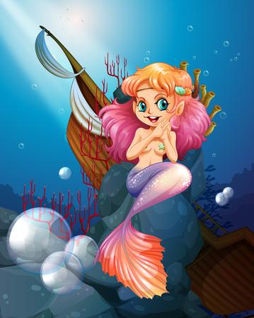 Illustration of a pretty mermaid under the sea near the rocks Vector