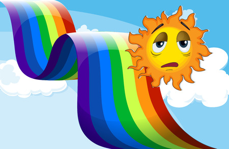 Illustration of a rainbow beside the sad sun Vector