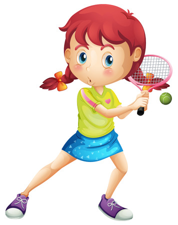 Illustration d'une jeune fille jouant au tennis sur un fond blanc Banque d'images - 27909340