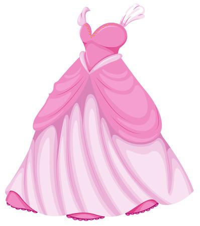 흰색 배경에 아름 다운 핑크 드레스의 그림