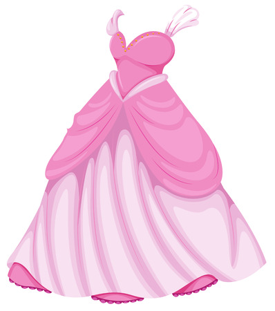 Illustration of a beautiful pink dress on a white background