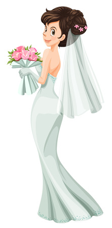 Illustration of a beautiful bride on a white background Vector